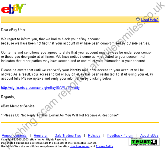 Your Account At Ebay Has Been Suspended