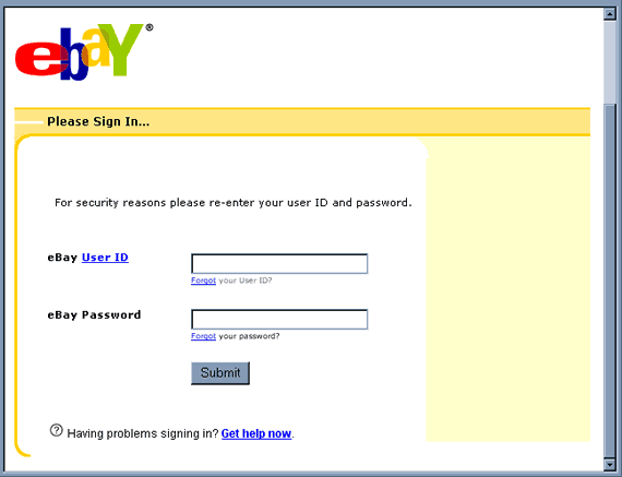 eBay email hoax - Security Check