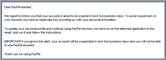 Another Paypal Spoof email hoax with VIRUS attachment.