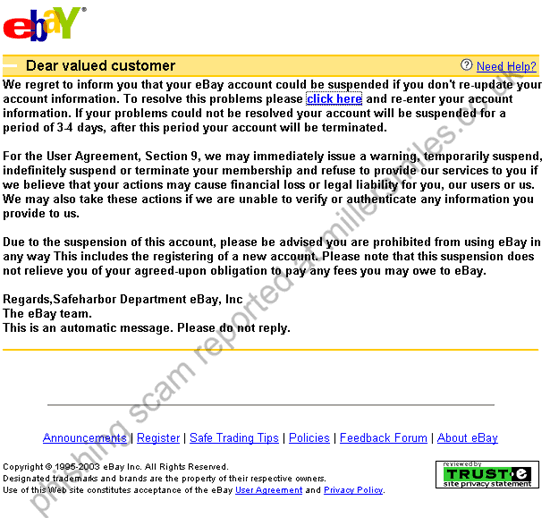 Your Ebay Account Could Be Suspended
