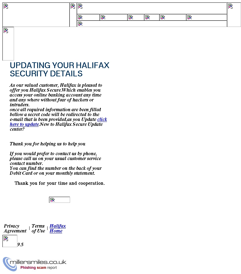 UPDATING YOUR HALIFAX SECURITY DETAILS - Halifax Bank Phishing Scams