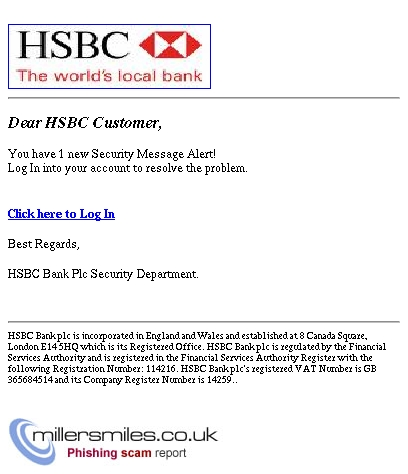 Important Security Message! - HSBC Bank Plc Phishing Scams
