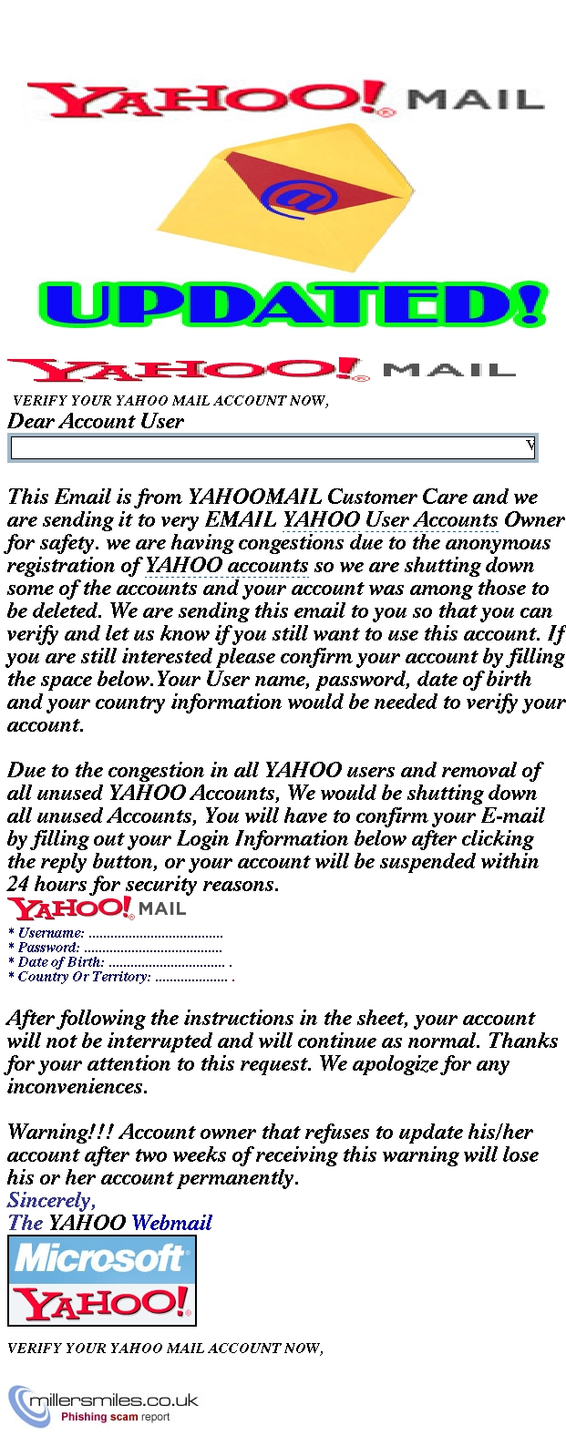 VERIFY YOUR YAHOO MAIL ACCOUNT NOW, - Yahoo Customer Phishing Scams