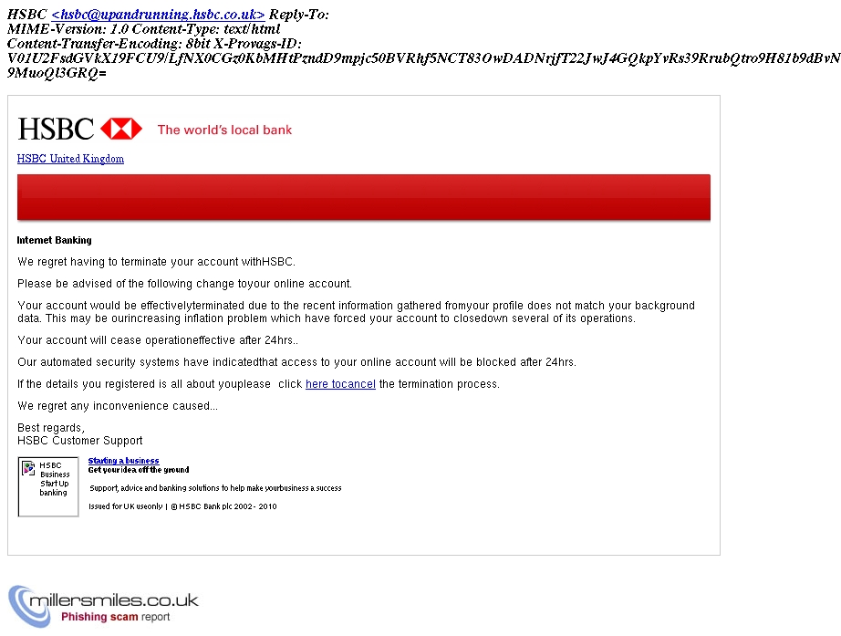 HSBC: Your account termination is being processed - HSBC