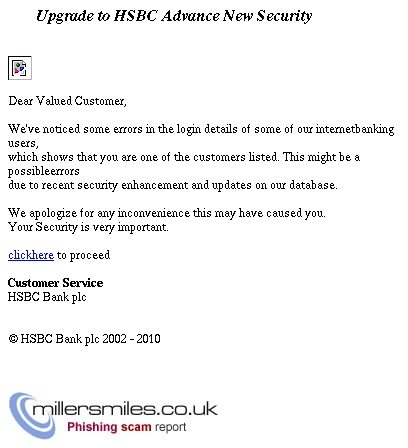 Upgrade to HSBC Advance New Security - HSBC Phishing Scams