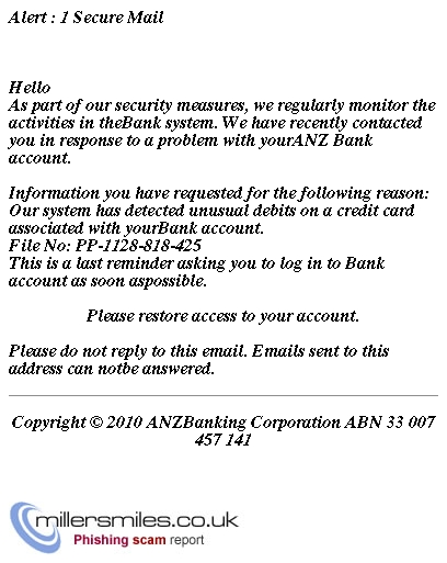 Anz Internet Banking Alert 1 Secure Mail Anz Bank Phishing Scams Millersmiles Co Uk