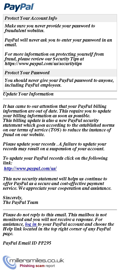 Paypal Update Your Information Paypal Inc Phishing Scams Millersmiles Co Uk