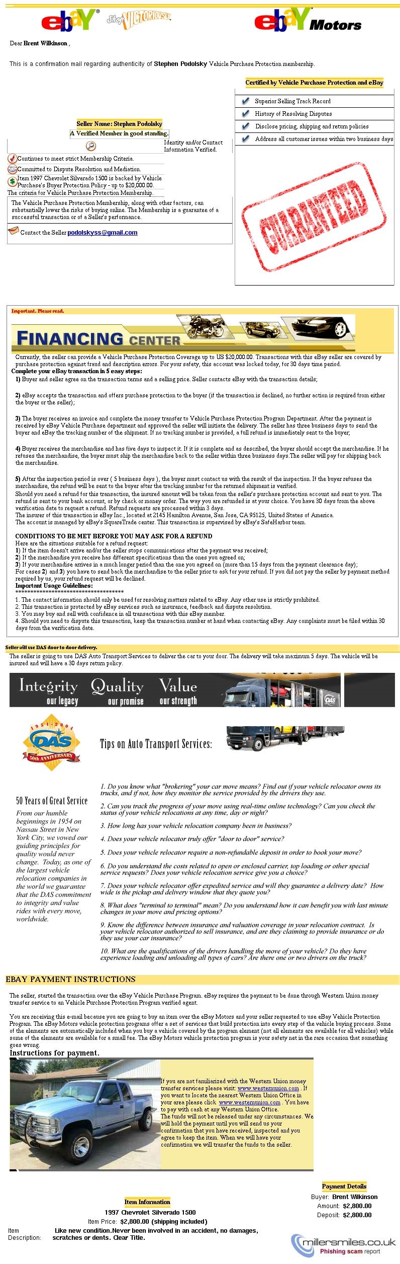Ebay Vehicle Protection Purchase Program Rs9452t01523usa Ebay Phishing Scams Millersmiles Co Uk