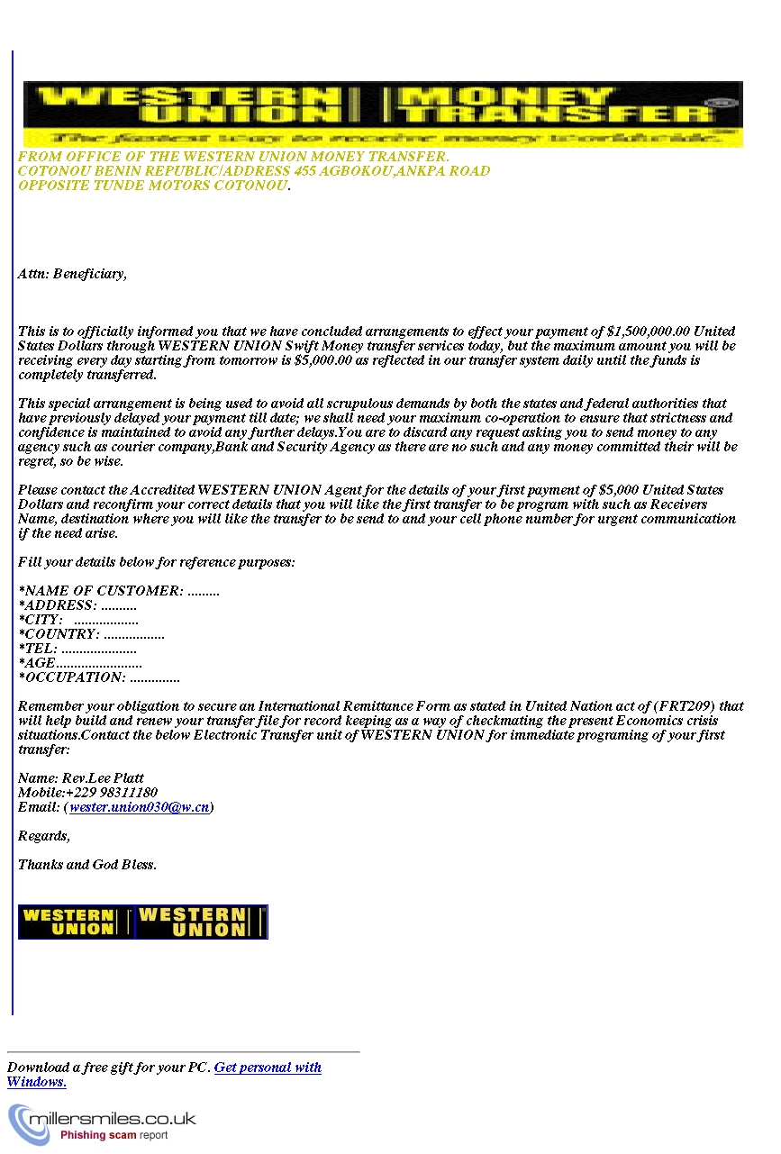 Via Your Western Union Phishing Millersmiles uk - Payment co Scams System