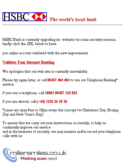 Error On Your Internet Banking Service - HSBC Phishing Scams
