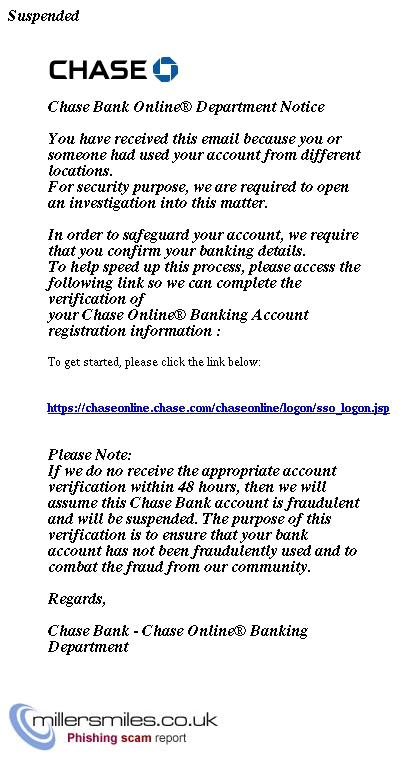 Online Access Suspended Chase Bank Phishing Scams Millersmiles Co Uk