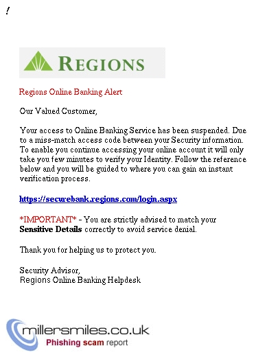 IMPORTANT* Regions Bank - You Have 1 New Security Message Alert