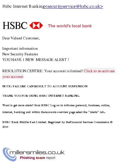 IMPORTANT* HSBC - You Have 1 New Security Message Alert