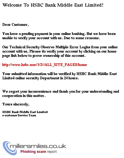 You have a pending payment in your online banking - HSBC BANK