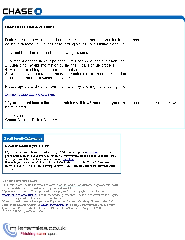 New Alert Notice Chase Bank Chase Card Services Phishing Scams Millersmiles Co Uk
