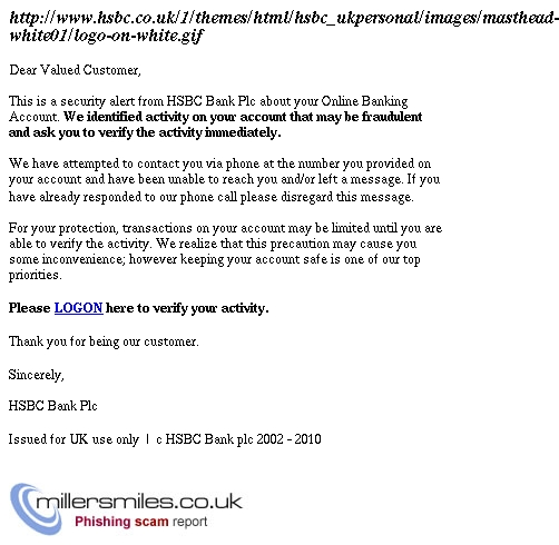 Important Security Alert About Your Hsbc Bank Account Hsbc Bank Plc Phishing Scams Millersmiles Co Uk
