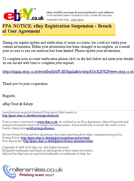 Ebay Registration Suspension Ebay Phishing Scams Millersmiles Co Uk