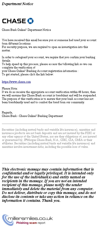 Chase Bank Online Department Notice Chase Bank Phishing Scams Millersmiles Co Uk