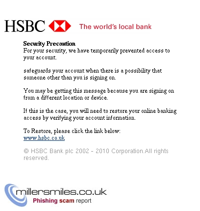 Customer Service Security Precaution  - HSBC Phishing Scams