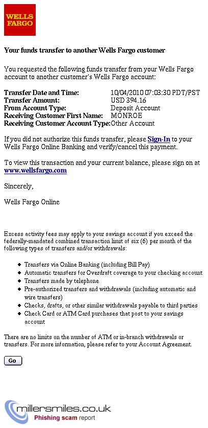 Confirming your funds transfer to another Wells Fargo