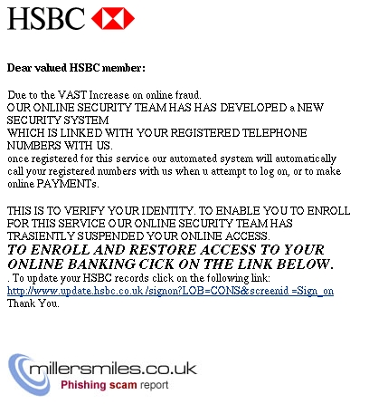Hsbc Telephone Scams