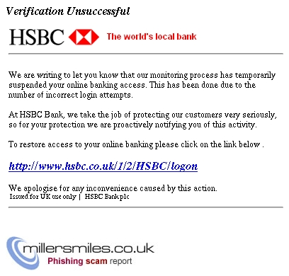 HSBC Alerts: Identity Verification Unsuccessful - HSBC