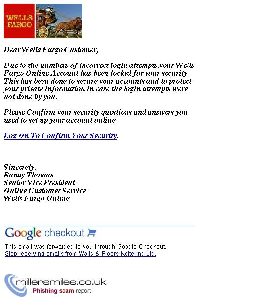 Wells Fargo Online New Message From Customer Service Wells Fargo Online Phishing Scams Millersmiles Co Uk