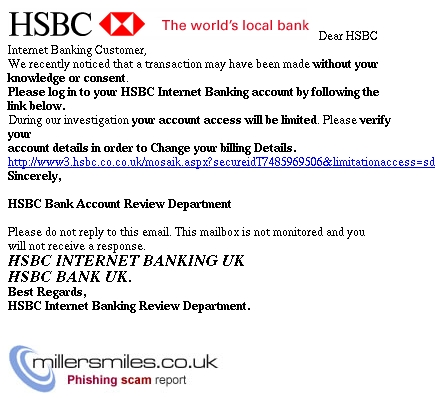 Your account is temporarily unavailable - HSBC Phishing