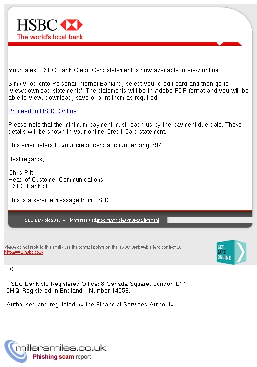 HSBC Bank Credit Card Statement Notification - HSBC Bank Plc
