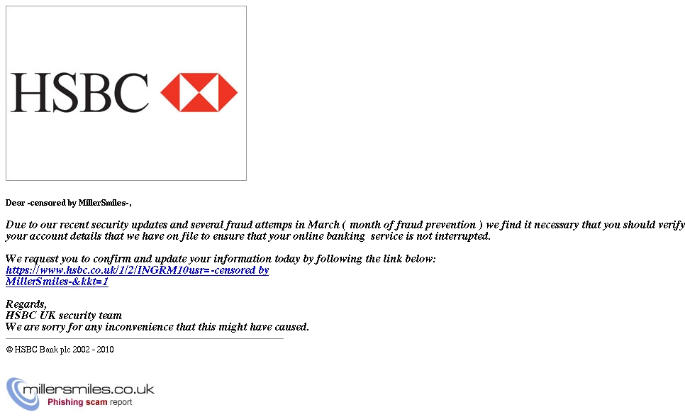 HSBC Account Alert ( freeny@hotmail co uk ) - HSBC Phishing