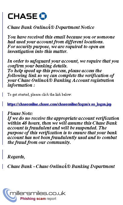Unusual Activity In Your Online Account Id 18237128736 Jp Morgan Chase Phishing Scams Millersmiles Co Uk