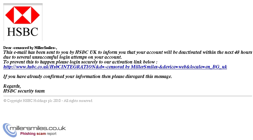 HSBC Alerts* : *HSBC e-mail notification* - HSBC Phishing