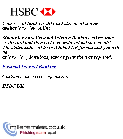 HSBC Credit Card Alert - HSBC UK Phishing Scams