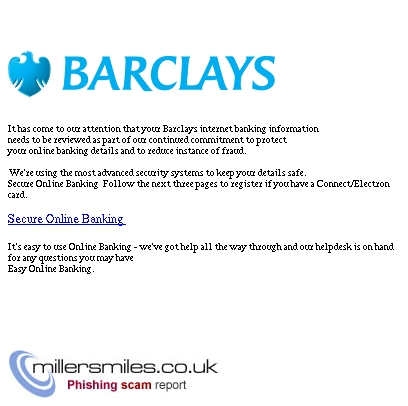 Barclays Secure Online Banking Barclays Bank Plc Phishing Scams Millersmiles Co Uk