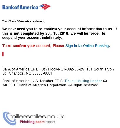 Bank Of America Alert Suspicious Activity Bank Of America Alert Phishing Scams Millersmiles Co Uk