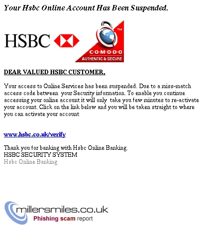 Your Hsbc Online Account Has Been Suspended  - HSBC Phishing Scams