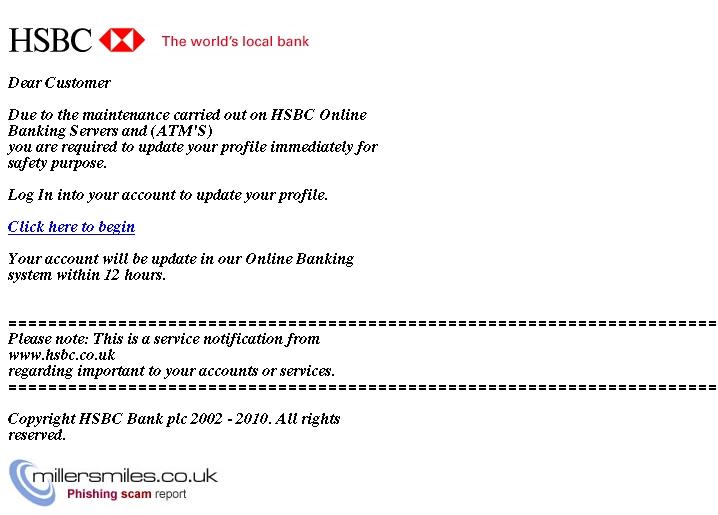 HSBC Bank: Account Verification - HSBC Bank UK Phishing Scams