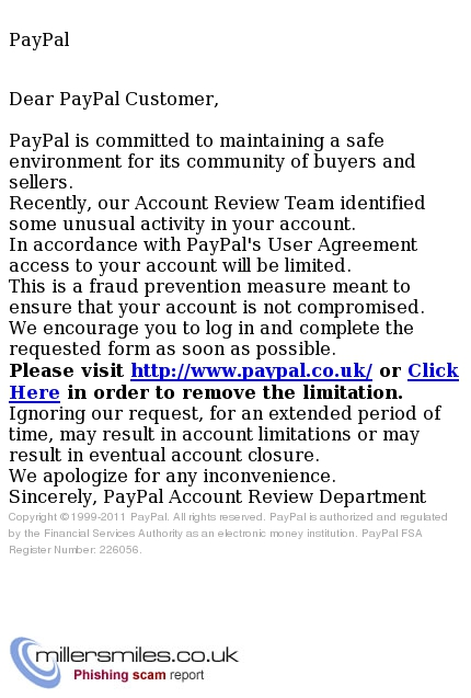 Your Paypal Account Has Been Limited Review Department Of Paypal Phishing Scams Millersmiles Co Uk