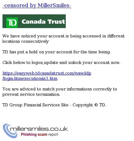 online banking suspended - TD Canada Trust (c) Phishing
