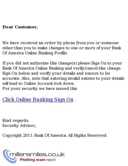 Bank Of America Account Update Bank Of America Phishing Scams Millersmiles Co Uk