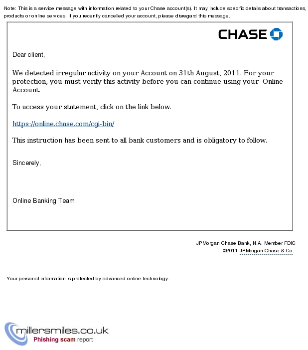 UPDATE YOUR JPMORGAN CHASE ONLINE ACCOUNT - Chase Phishing