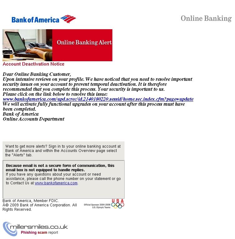 Alert: Account Deactivation Notice   - Bank of America Alert