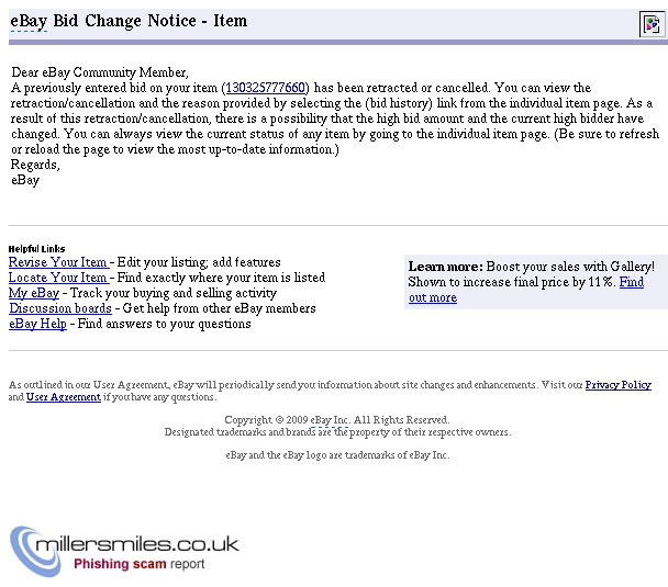 Ebay Bid Cancellation Notice Item 130325777660 Ebay Phishing Scams Millersmiles Co Uk