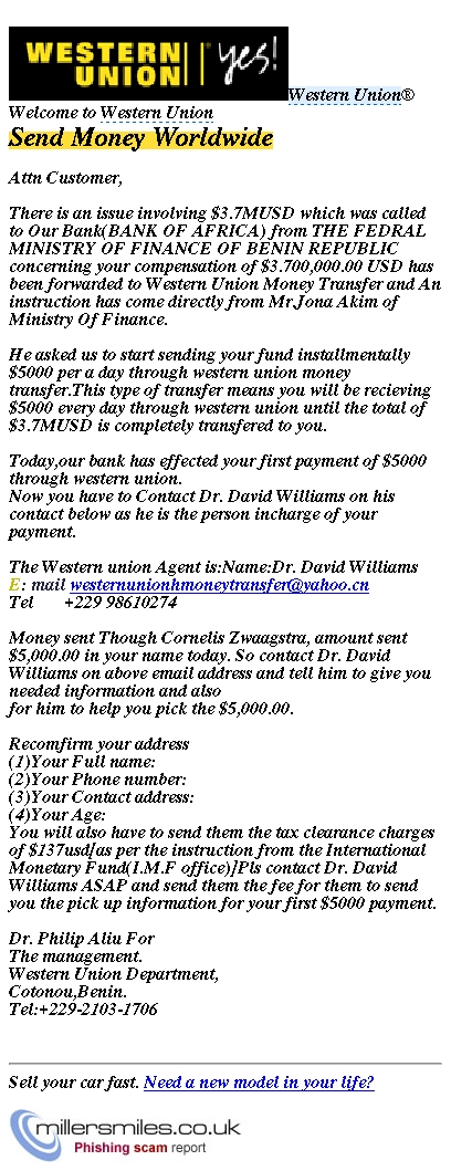 Contact western union agent in charge of your payments