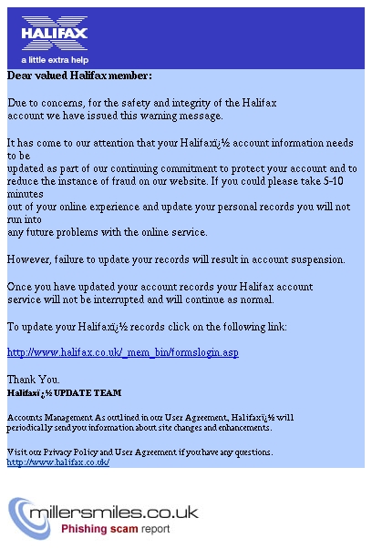 Halifax Online Banking Validation Halifax Online Phishing Scams Millersmiles Co Uk