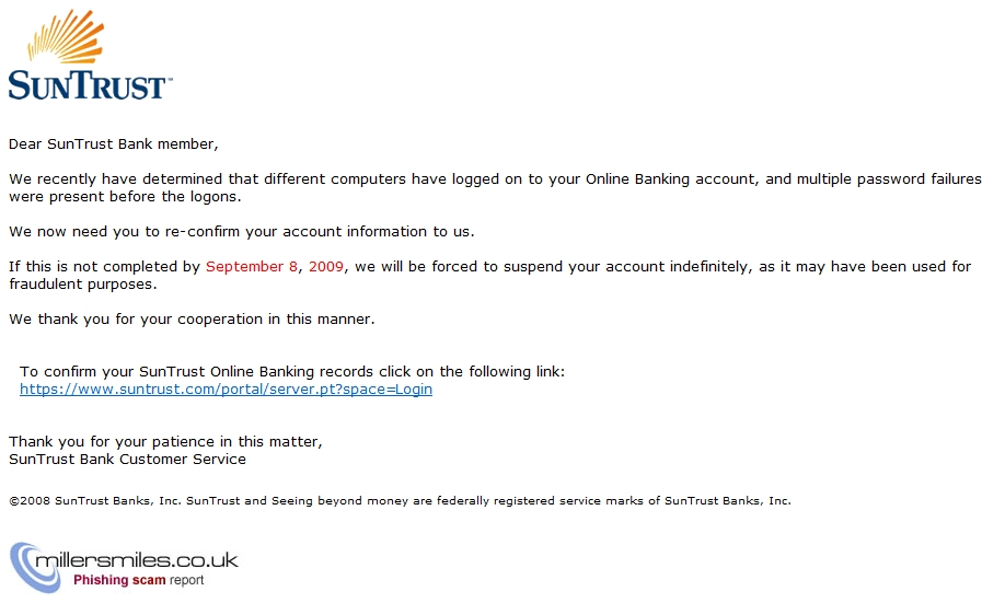 Your Online Banking account may have been accessed from an
