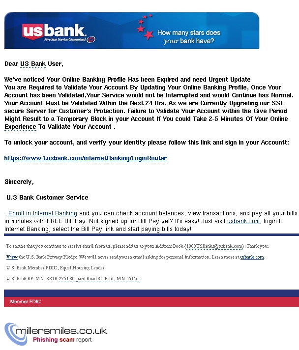 Critical Update Required For Your Online Banking U S Bank Phishing Scams Millersmiles Co Uk