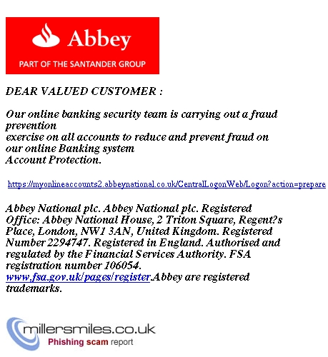 Security Message from Abbey Bank plc  - Abbey Bank plc Phishing