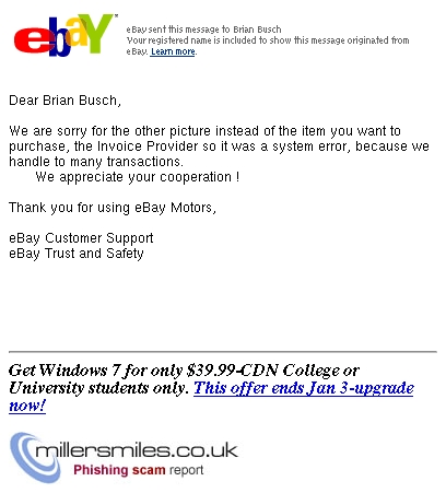 Ebay Motors Customer Support Invoice Provider Error Ebay Phishing Scams Millersmiles Co Uk