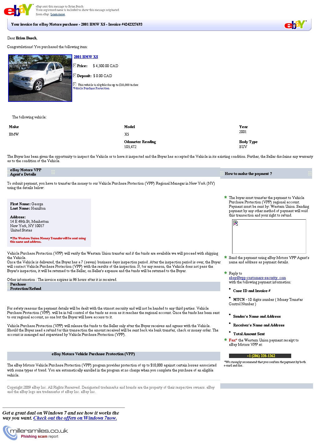 Your Invoice For Ebay Motors Purchase 2001 Bmw X5 Invoice 4242327693 Chase Phishing Scams Millersmiles Co Uk